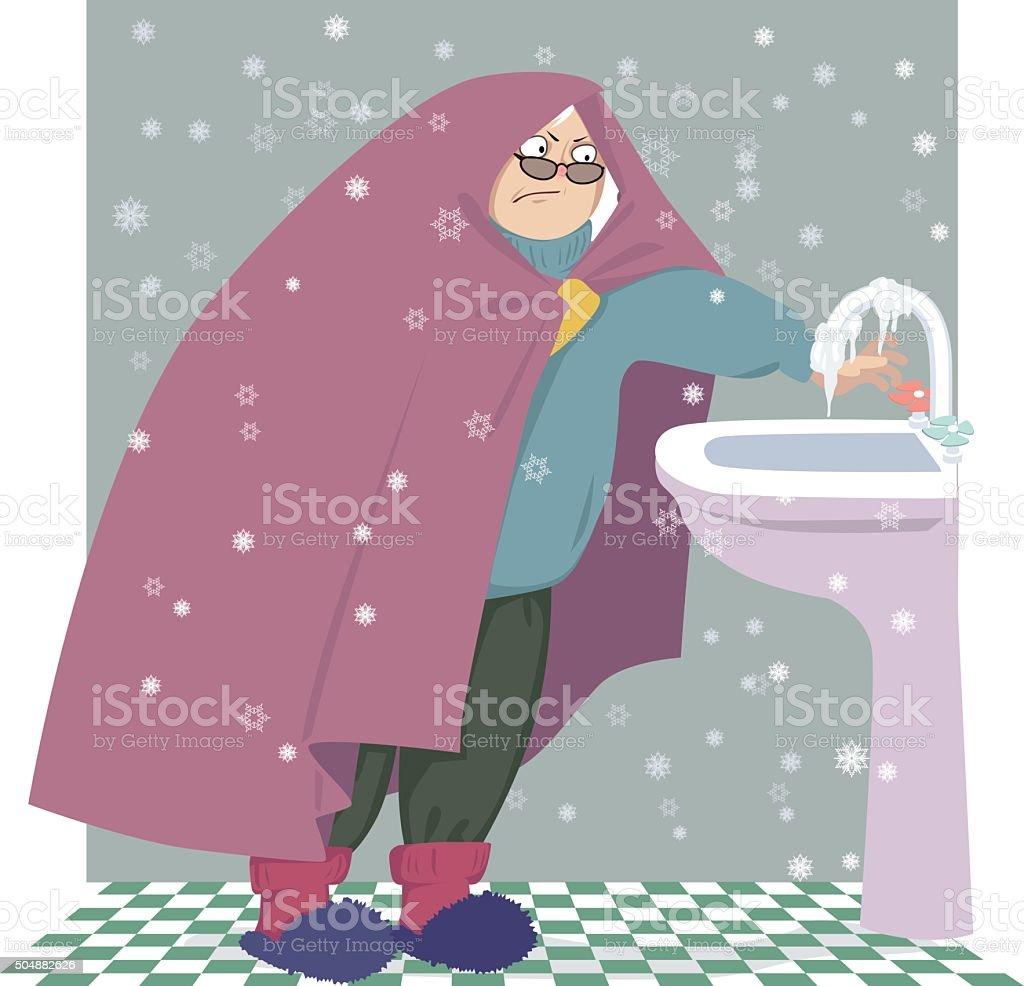 Cold home vector art illustration