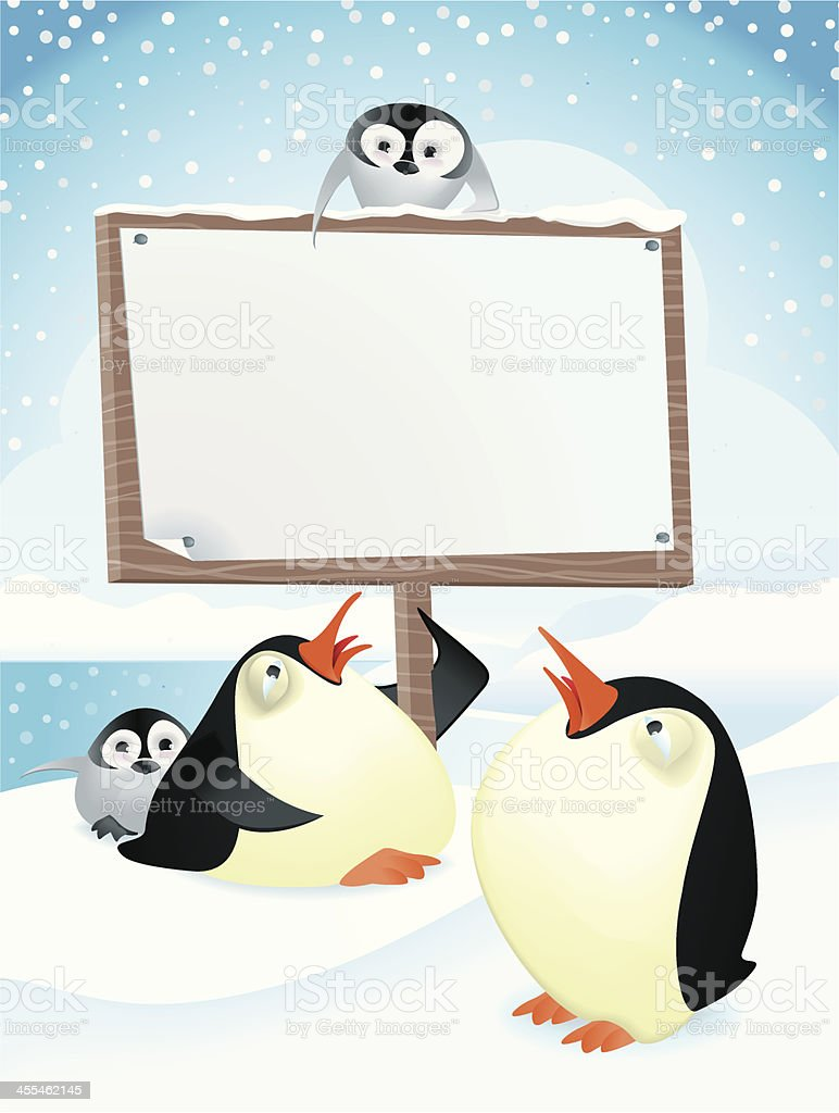 Cold Penguins Holding a Sign royalty-free stock vector art