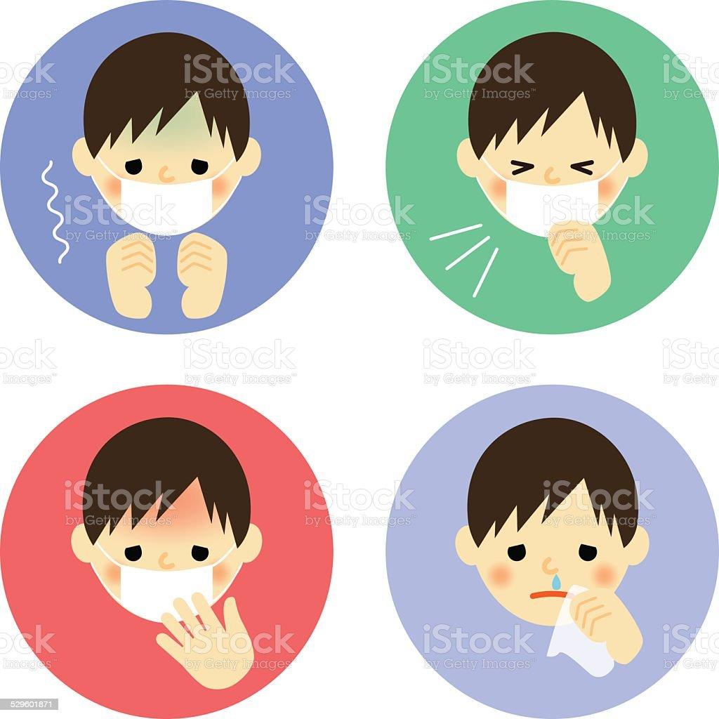 Cold symptoms of boy vector art illustration