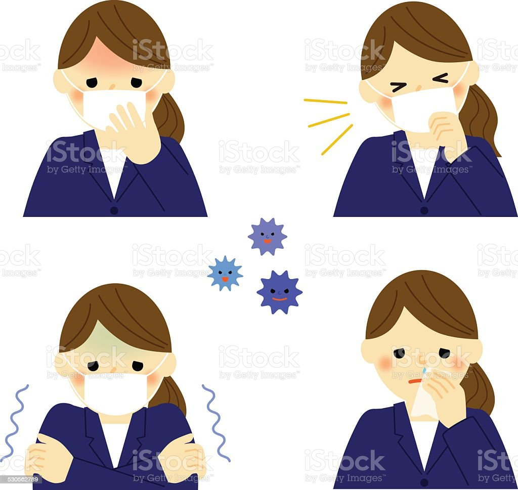 Cold symptoms of business woman vector art illustration