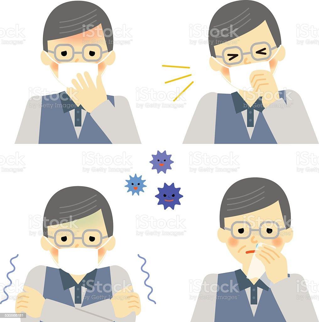 Cold symptoms of senior man vector art illustration