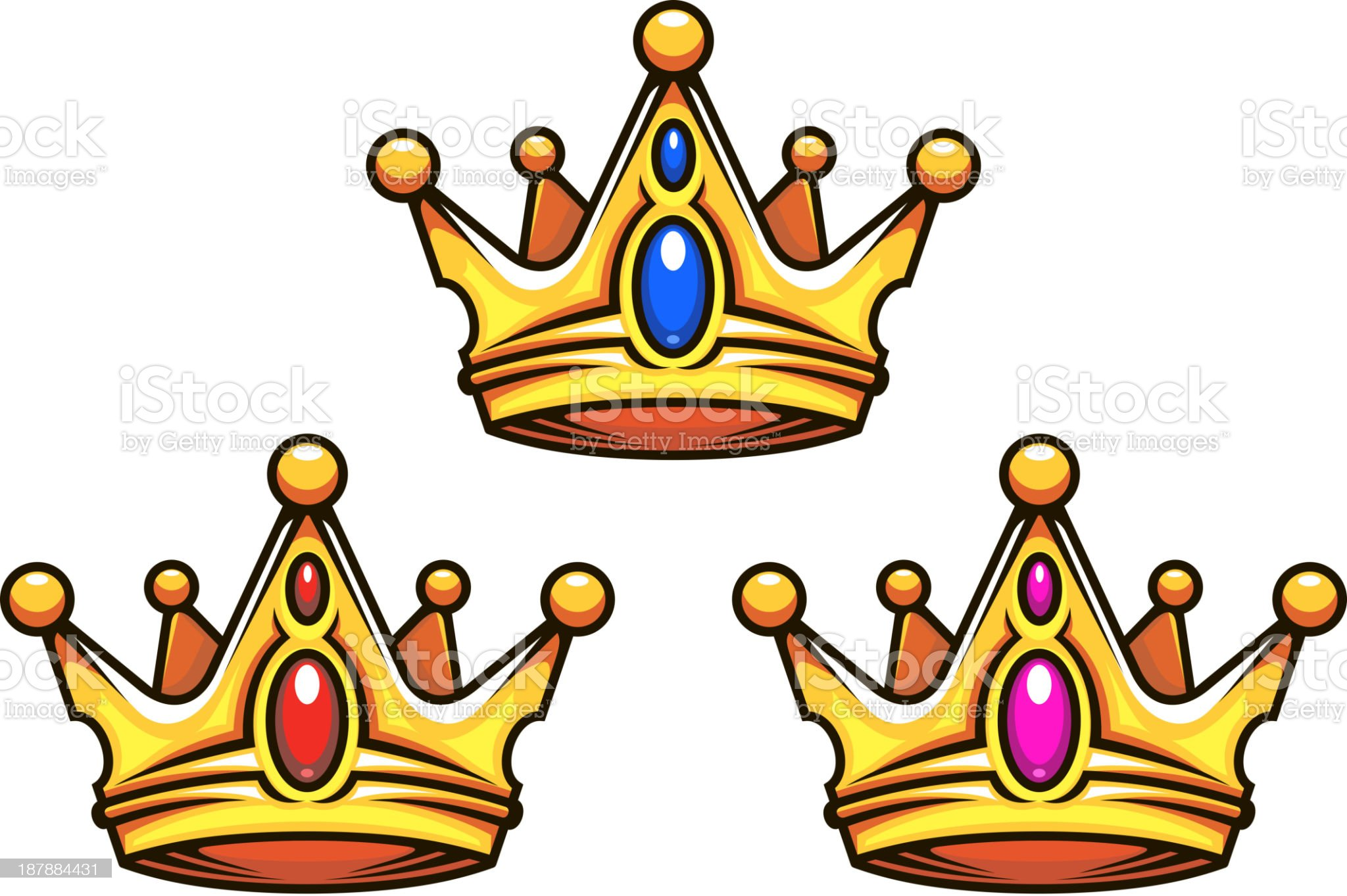 Colden royal crowns with jewelry elements royalty-free stock vector art