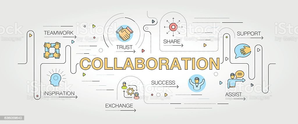 Collaboration banner and icons vector art illustration