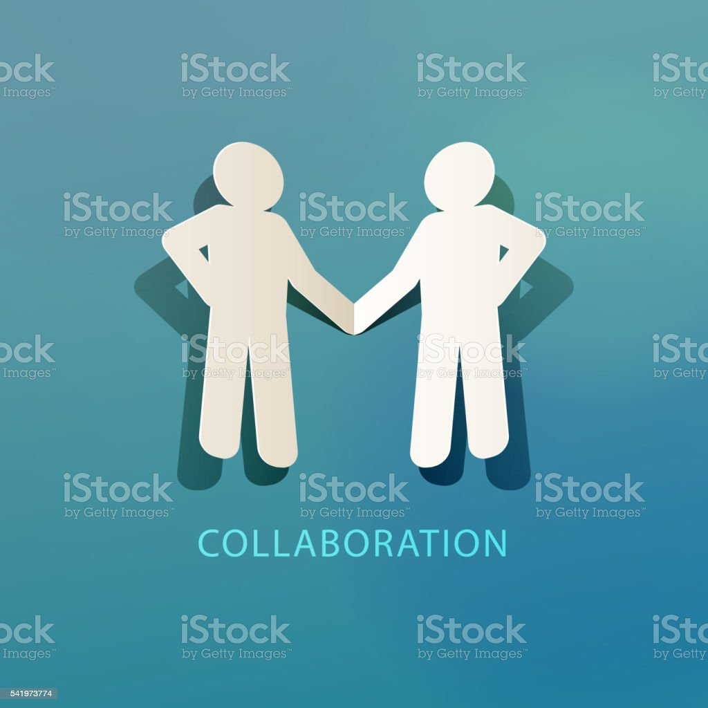 Collaboration Concept Paper Cut vector art illustration