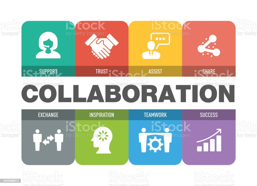 Collaboration Icon Set vector art illustration