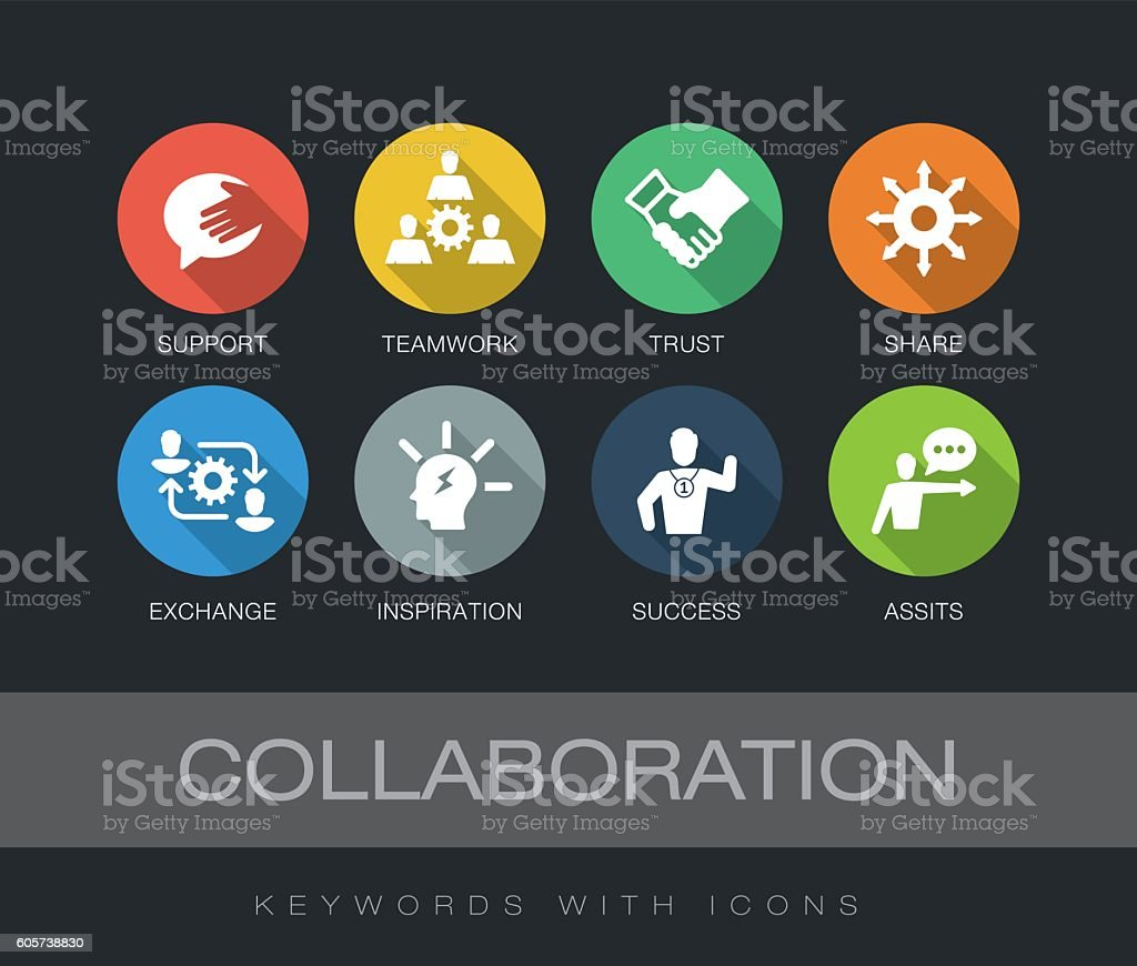 Collaboration keywords with icons vector art illustration