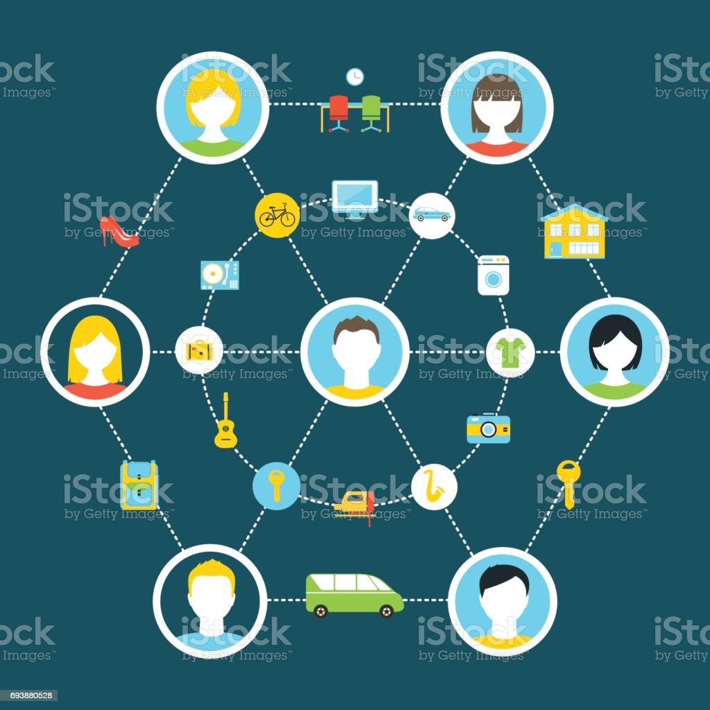 Collaborative Consumption and Shared Economy Concept Illustration vector art illustration