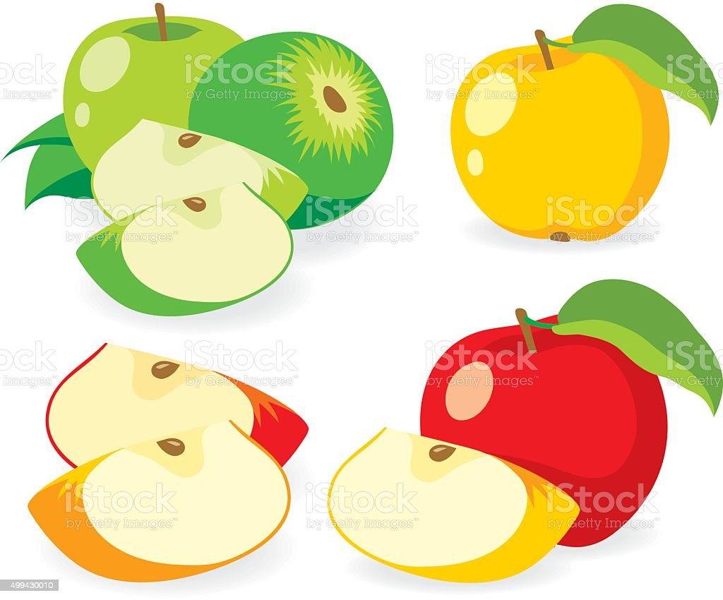 Collaction of apples vector illustrations vector art illustration