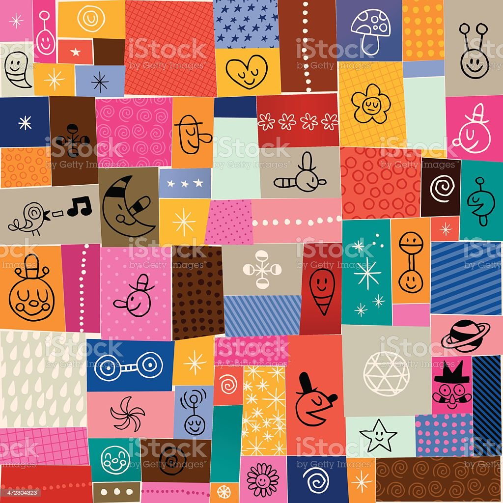 collage doodle pattern royalty-free stock vector art