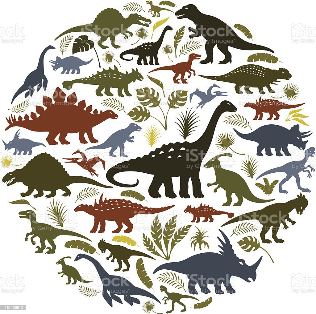 Collage of dinosaur icons in a circle royalty-free stock vector art