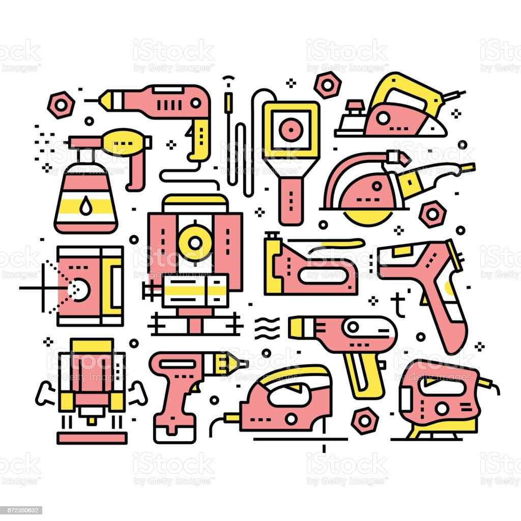 Collage of hand-tools for construction works vector art illustration
