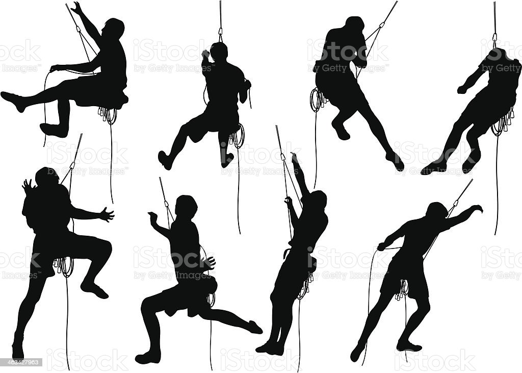 Collage of mountain climbers in silhouette vector art illustration