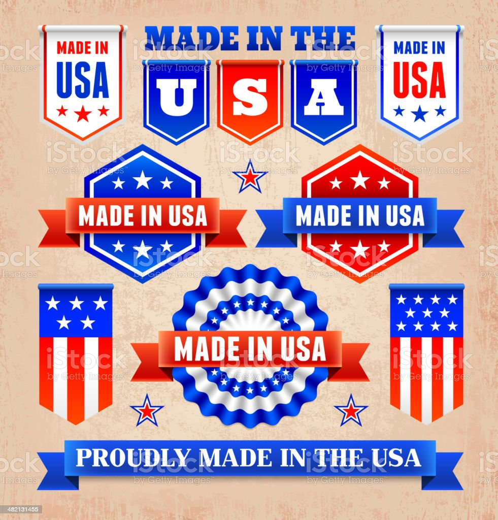 Collage of patriotic banners and badges vector art illustration