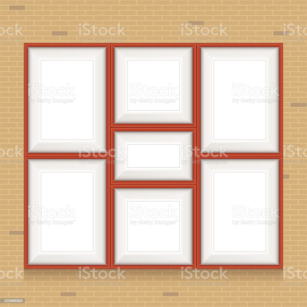Collage of picture frames on the brick wall. Vector set. vector art illustration