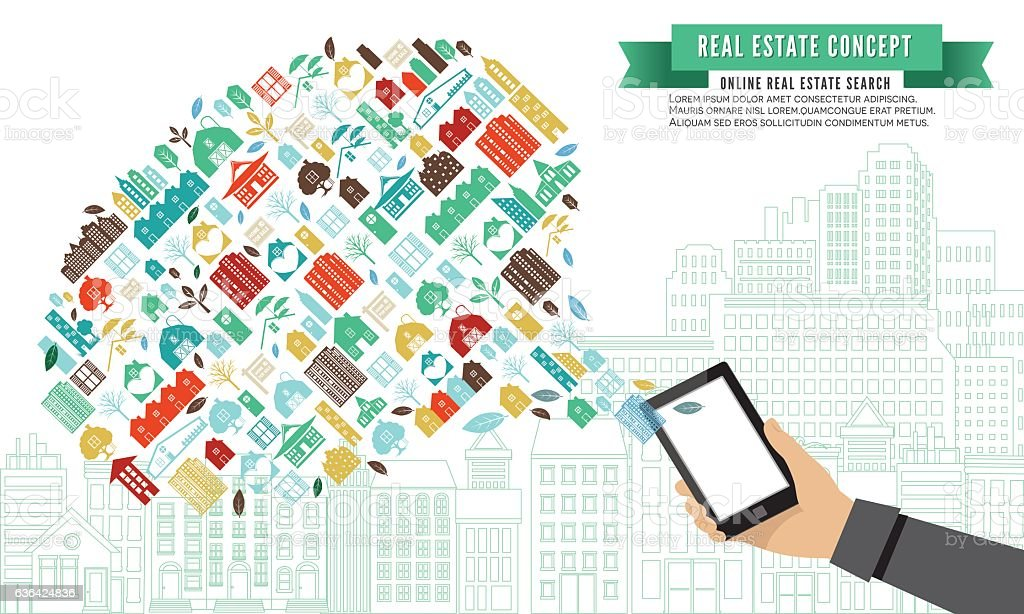 Collage Of Real Estate And Architecture Icons vector art illustration