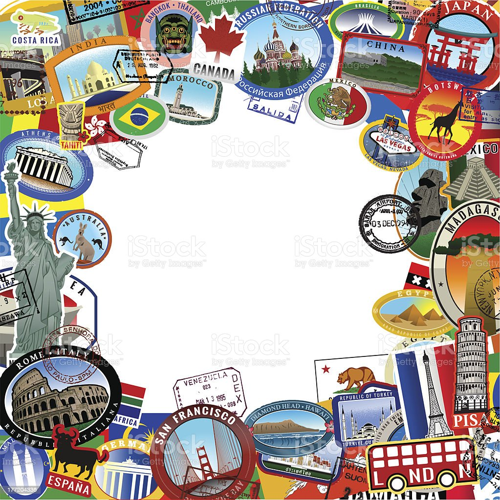 Collage of Travel stickers and stamps royalty-free stock vector art