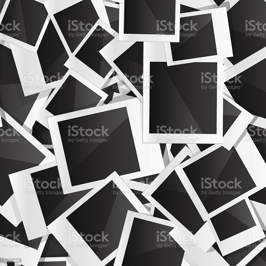 Collage of undeveloped Polaroid pictures vector art illustration