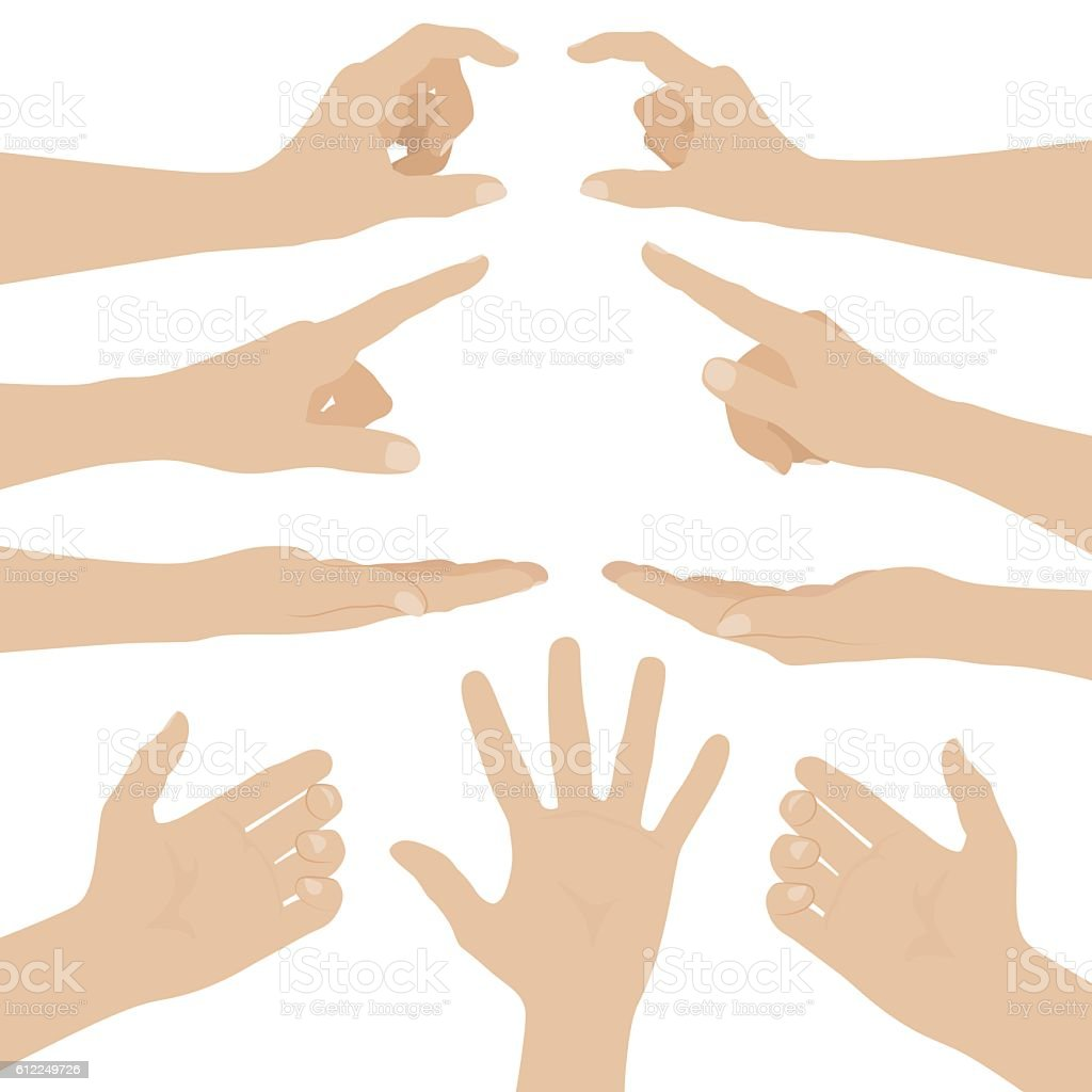 Collage of woman hands on white background vector art illustration