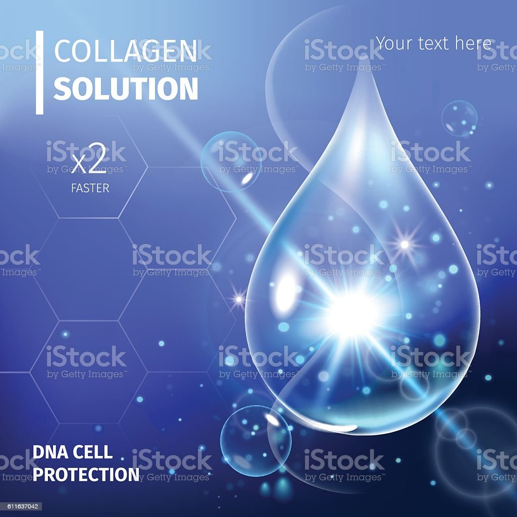 Collagen Serum and Vitamin Background Concept Skin Care Cosmetic. vector art illustration