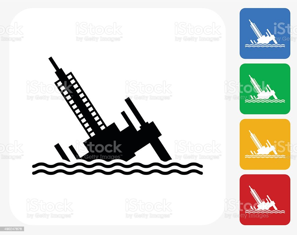 Collapsed Oil Rig Icon Flat Graphic Design vector art illustration