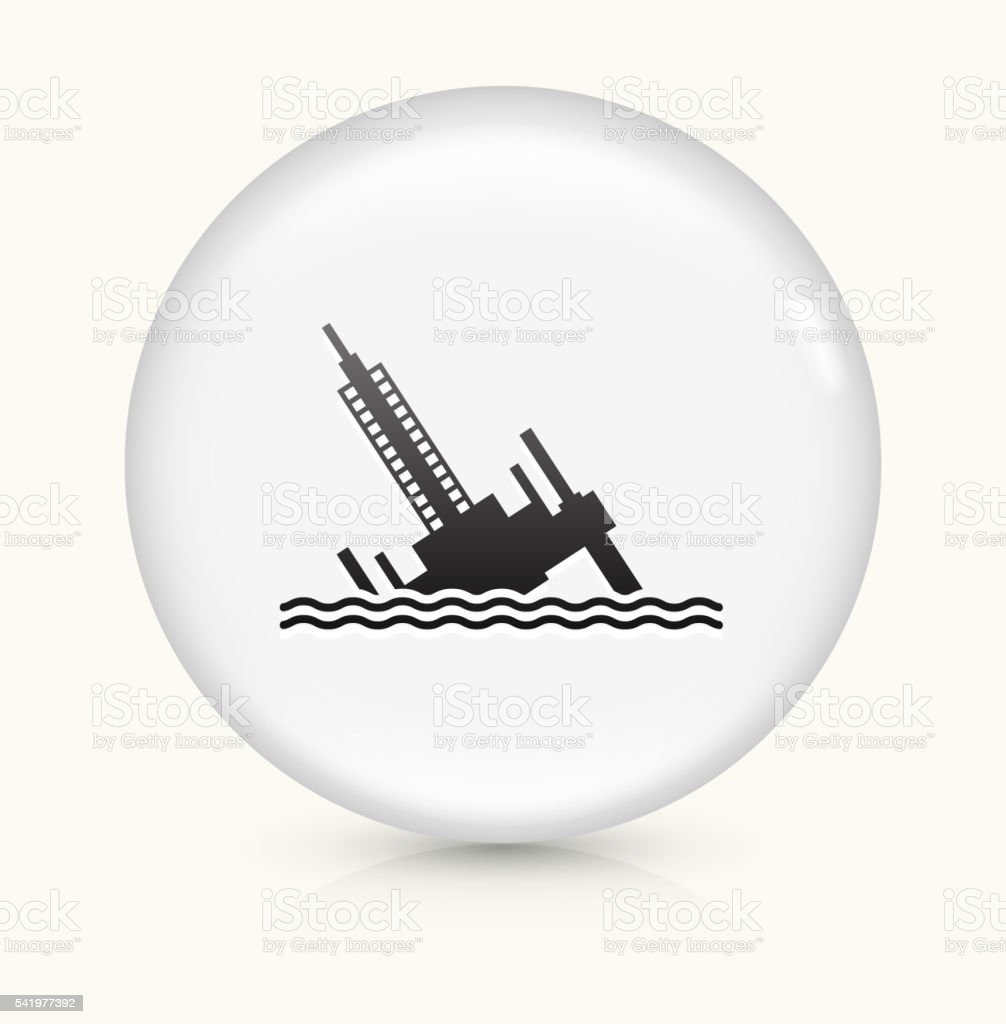 Collapsed Oil Rig icon on white round vector button vector art illustration