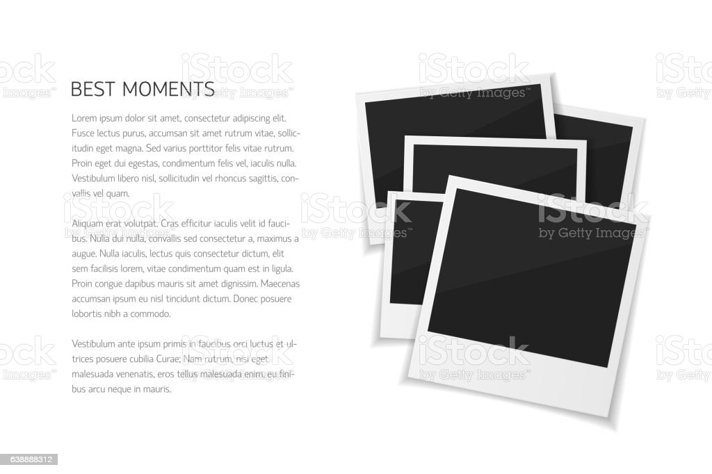 Collect moments. Set isolated vector  photos. Retro fotos on white vector art illustration