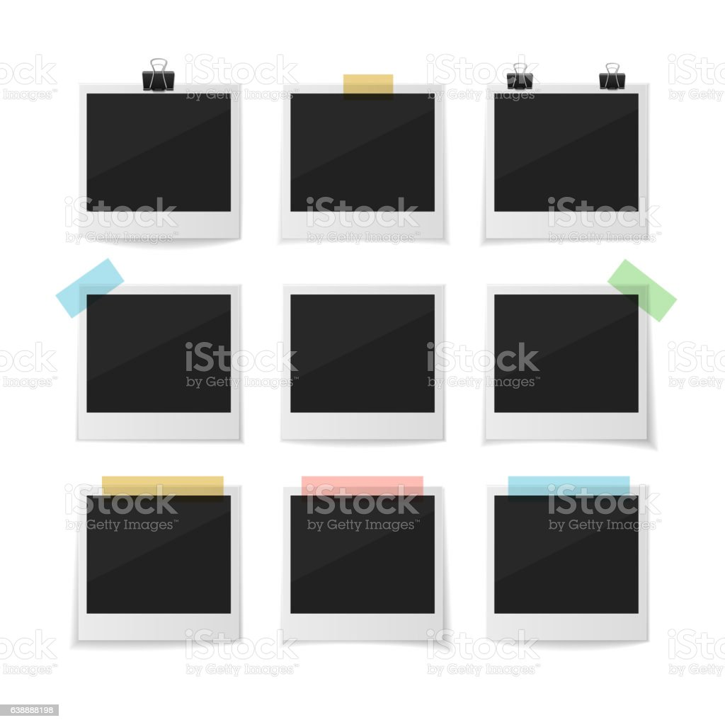 Collect moments. Set of sticked down vector photos vector art illustration