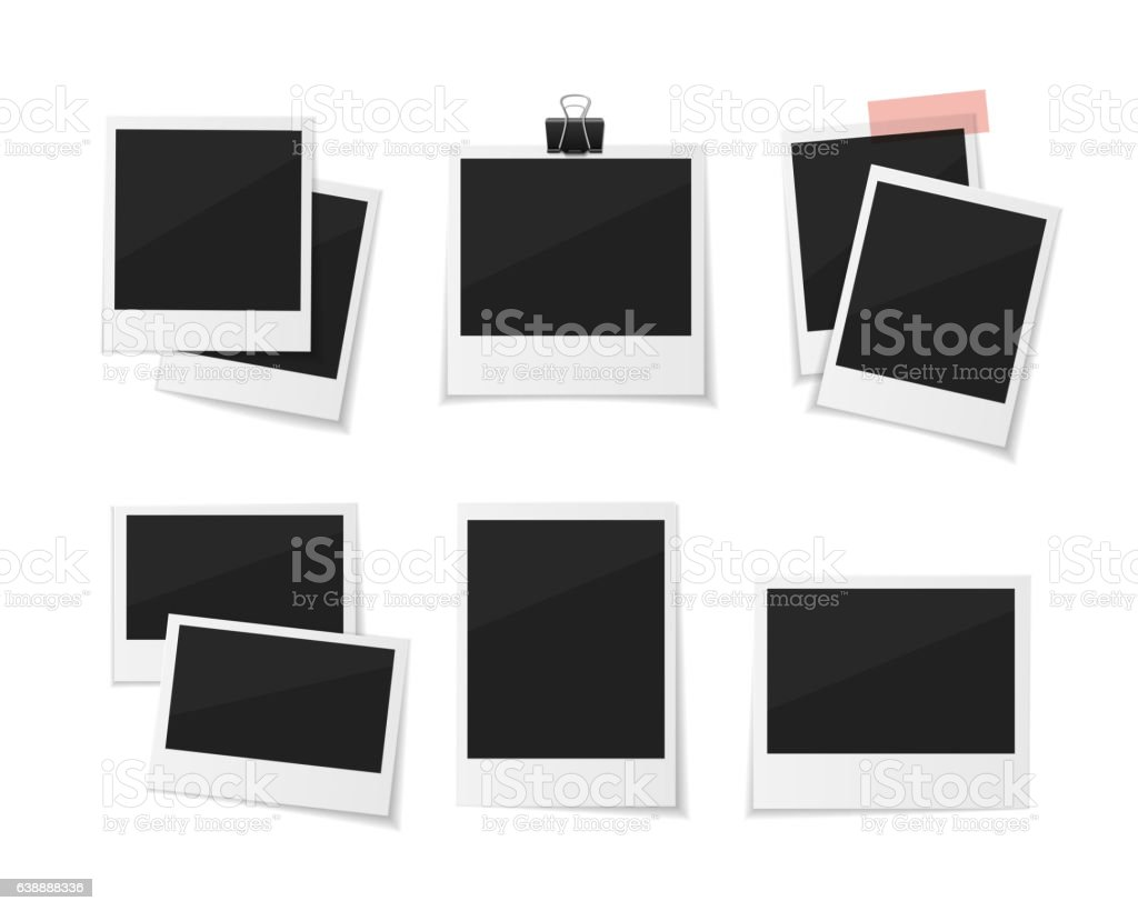 Collect moments. Set Vector  photos sticked down with paper tape vector art illustration