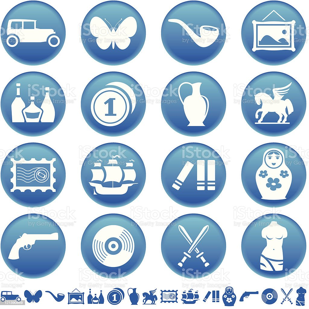Collecting and hobby icons royalty-free stock vector art