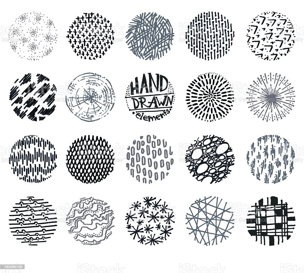 Collection 19 vector hand drawn design round doodle elements vector art illustration