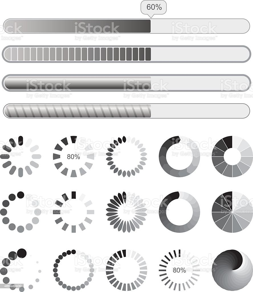 Collection black-white preloaders vector art illustration