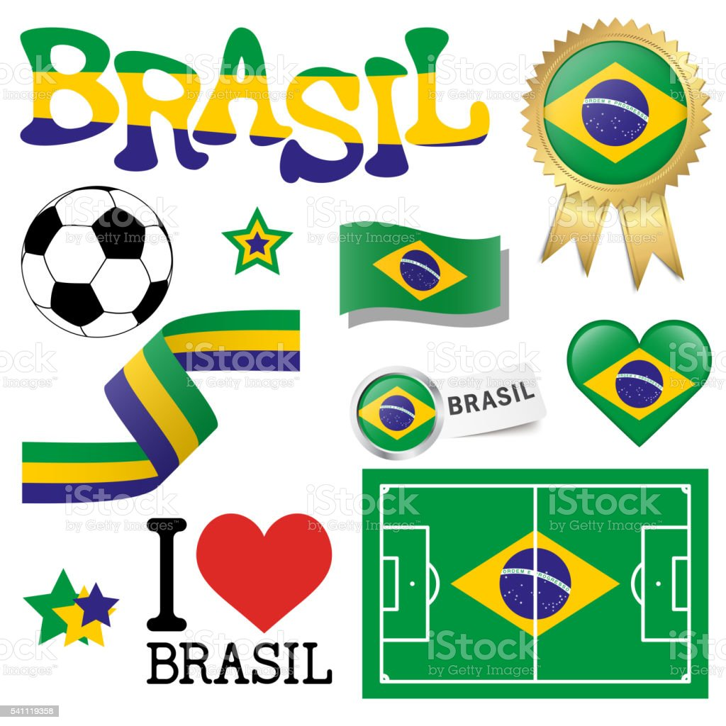 collection - Brasil icons and marketing accessories vector art illustration