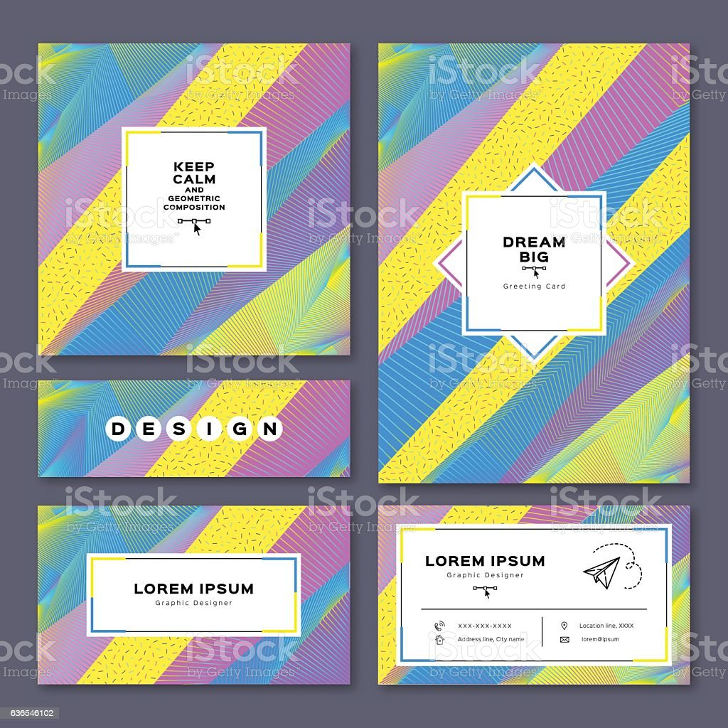 Collection cards invitation, A4 poster, business card, flyer. Geometric background vector art illustration