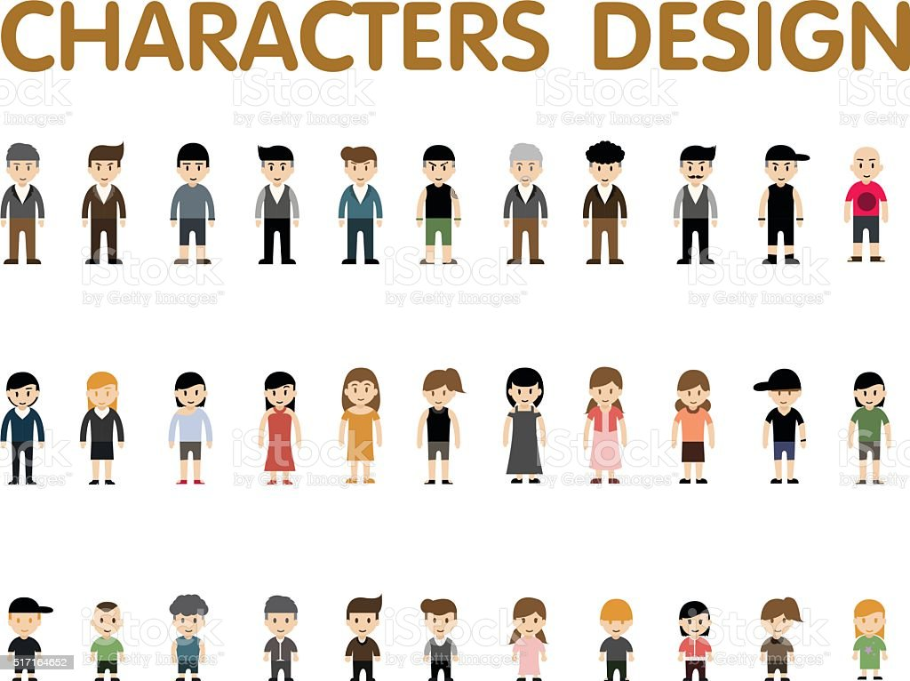 collection character design vector art illustration