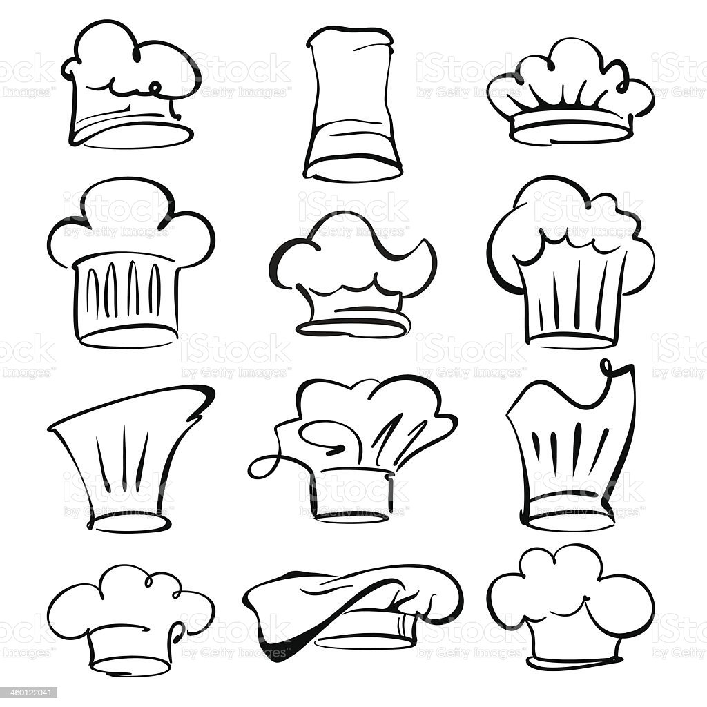 collection chef hats set vector  illustration vector art illustration