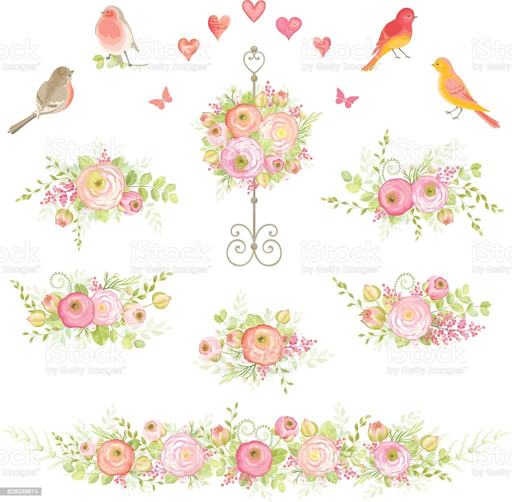 Collection decorations of flowers, leaves and birds. Floral design. vector art illustration