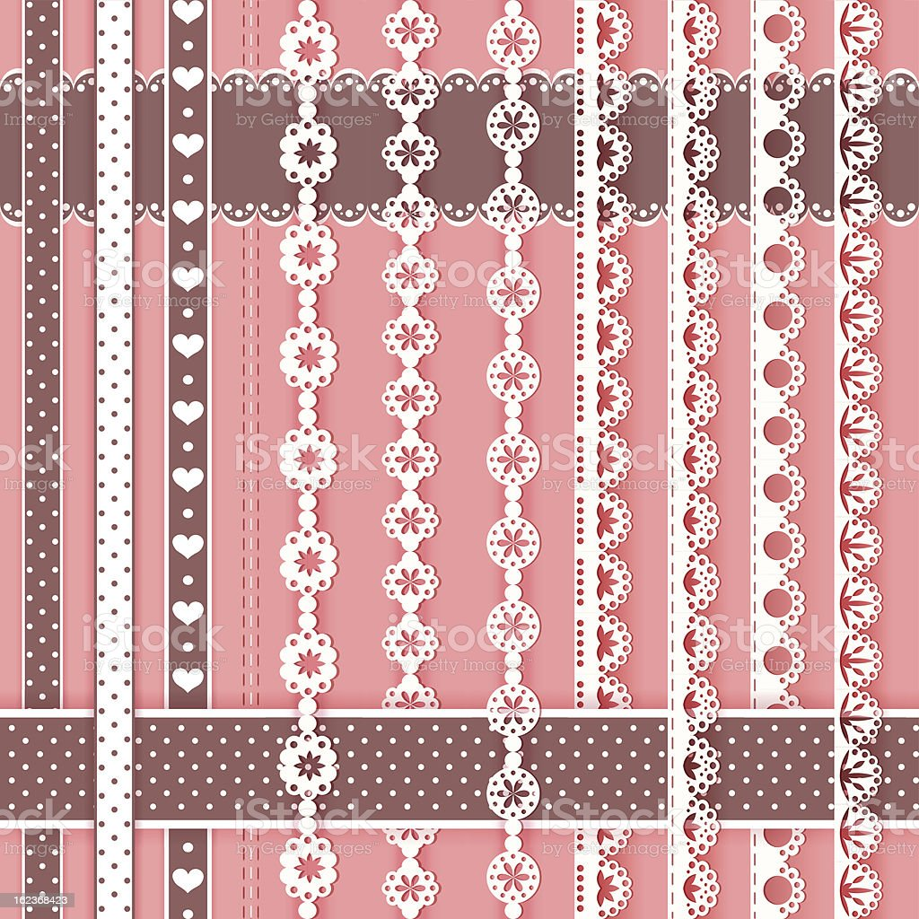 Collection design elements for scrapbook. Borders. vector art illustration