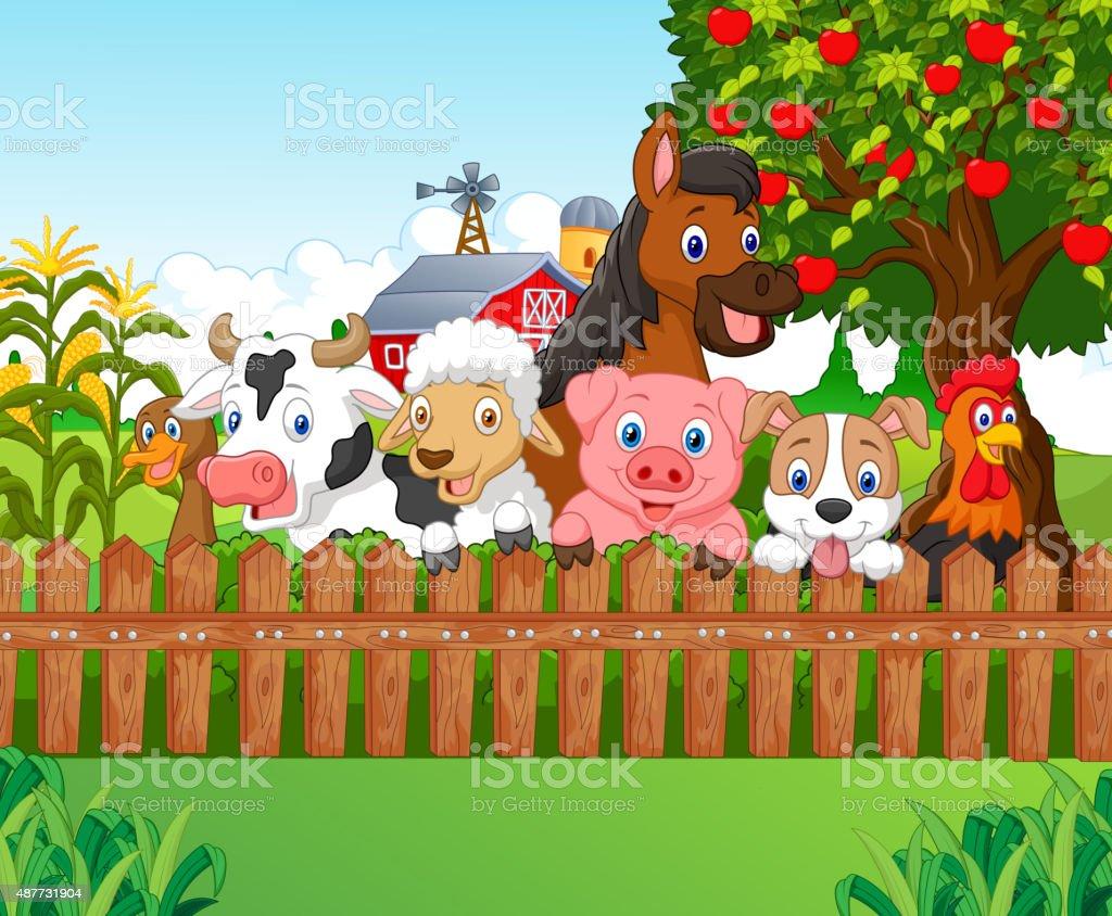 Collection farm animals vector art illustration