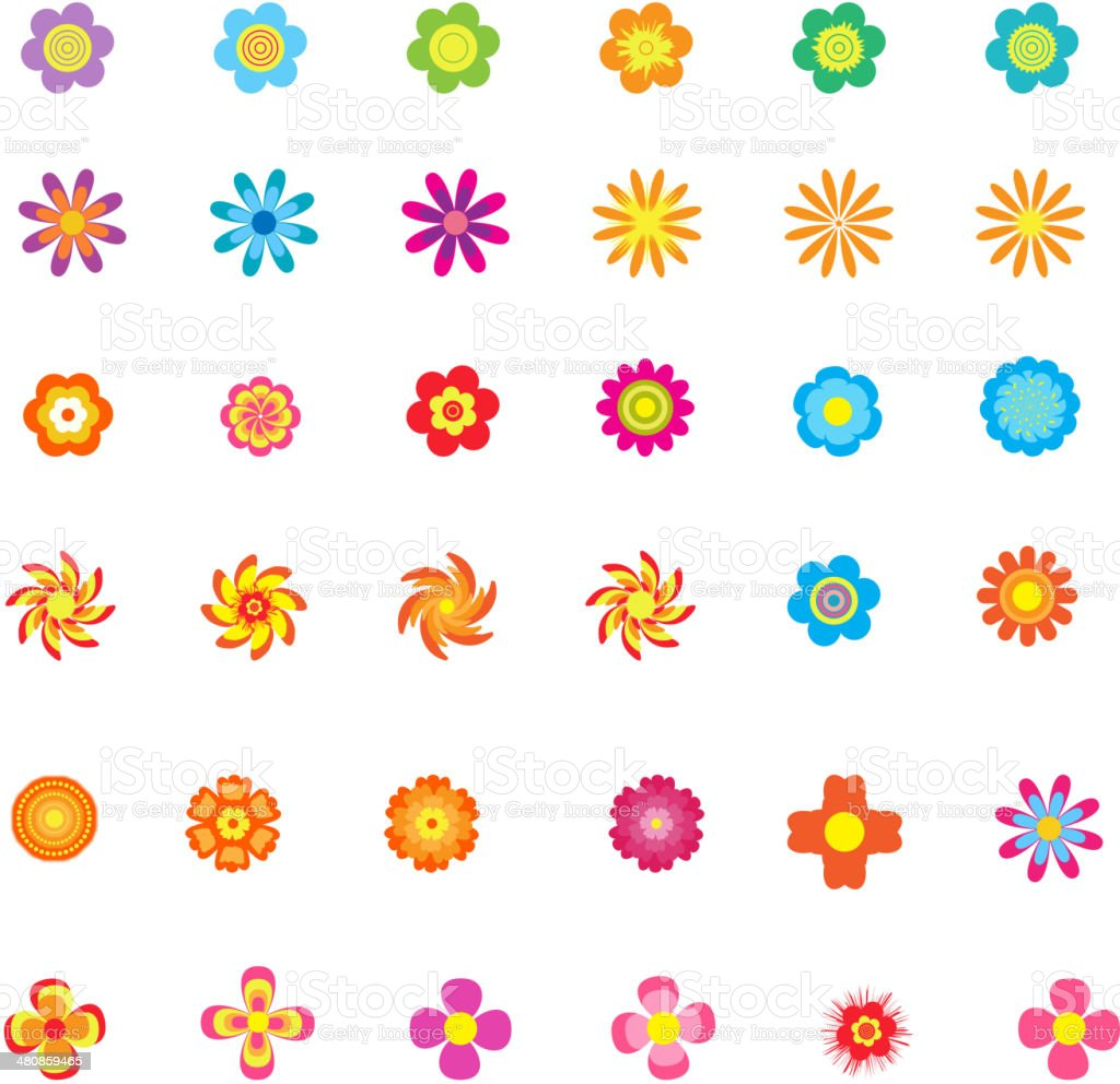 Collection flowers icons set vector art illustration