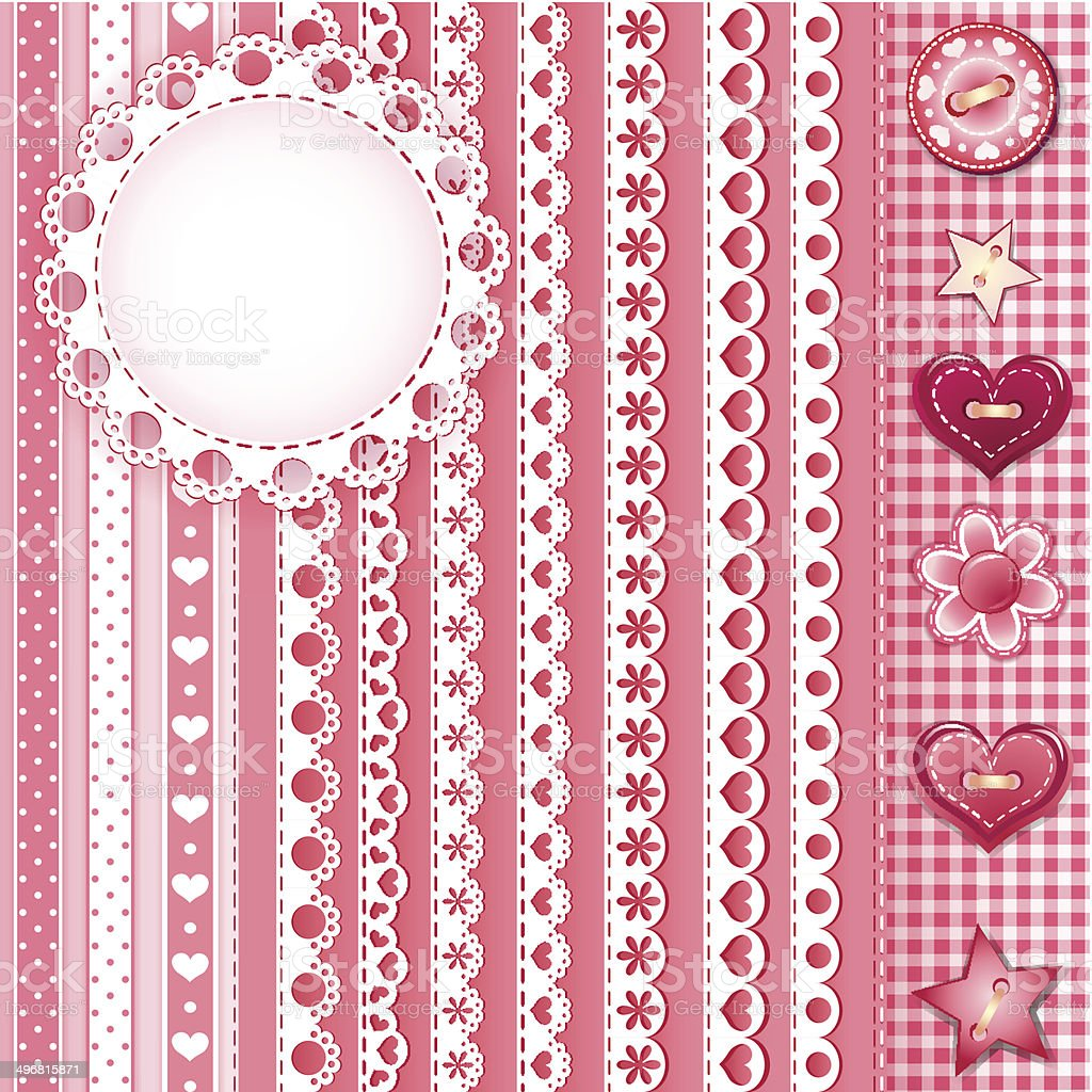 Collection for scrapbook. Borders 3 vector art illustration