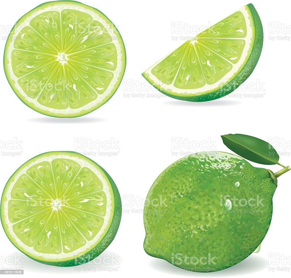 Collection Fresh lime and slice, Isolated on white background.vector vector art illustration