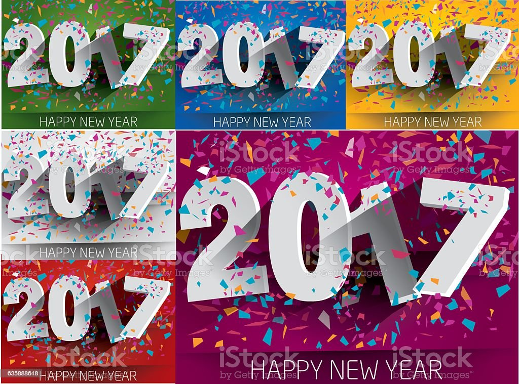 Collection Happy 2017 new year. vector art illustration