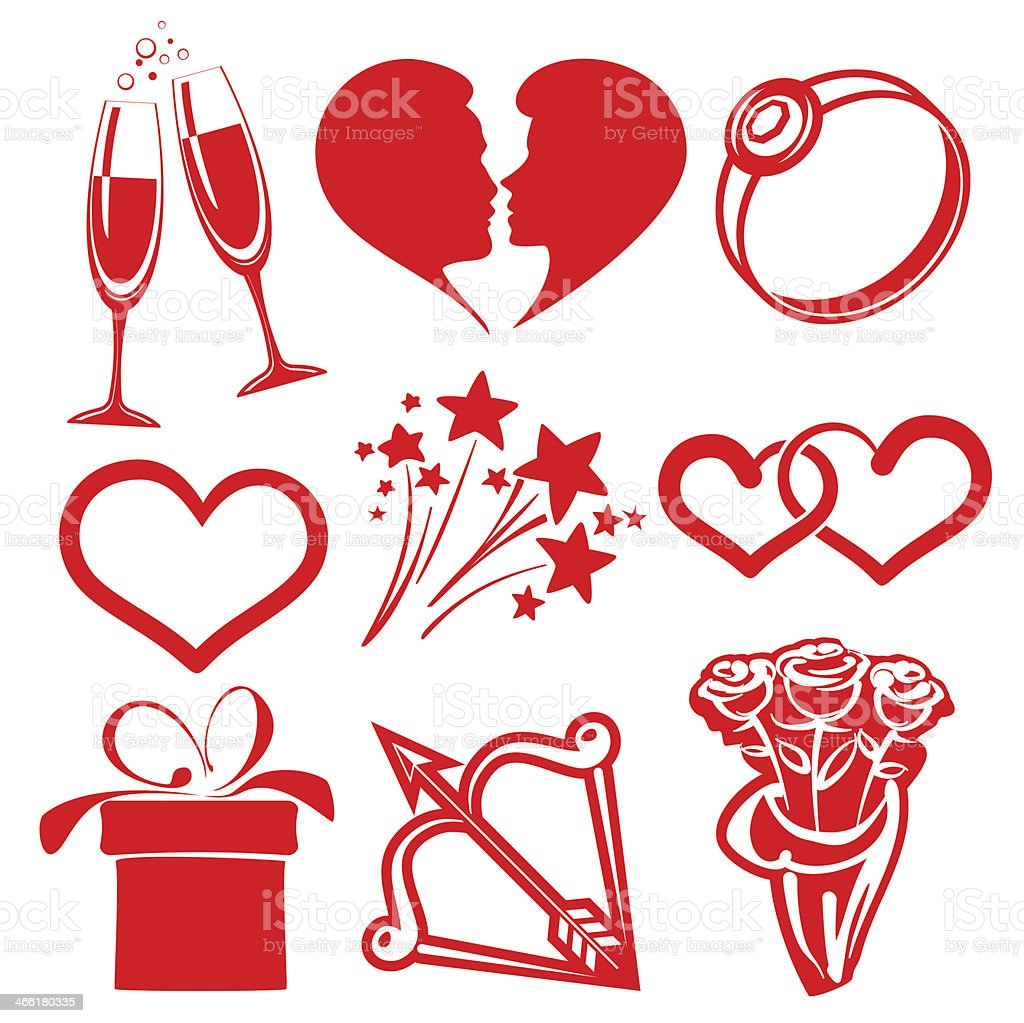 collection icon Valentine day, vector illustrations royalty-free stock vector art
