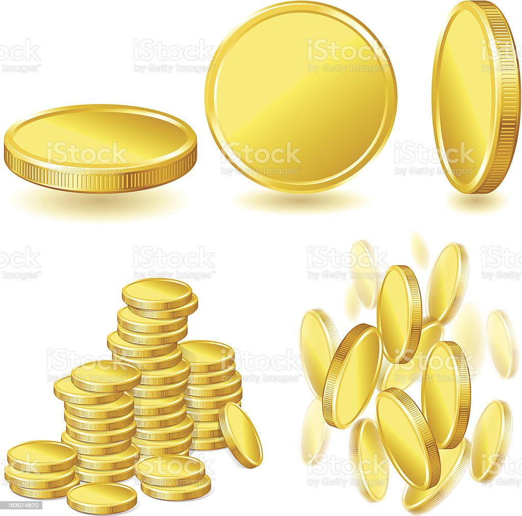 Collection illustrations, icons of gold coins. royalty-free stock vector art