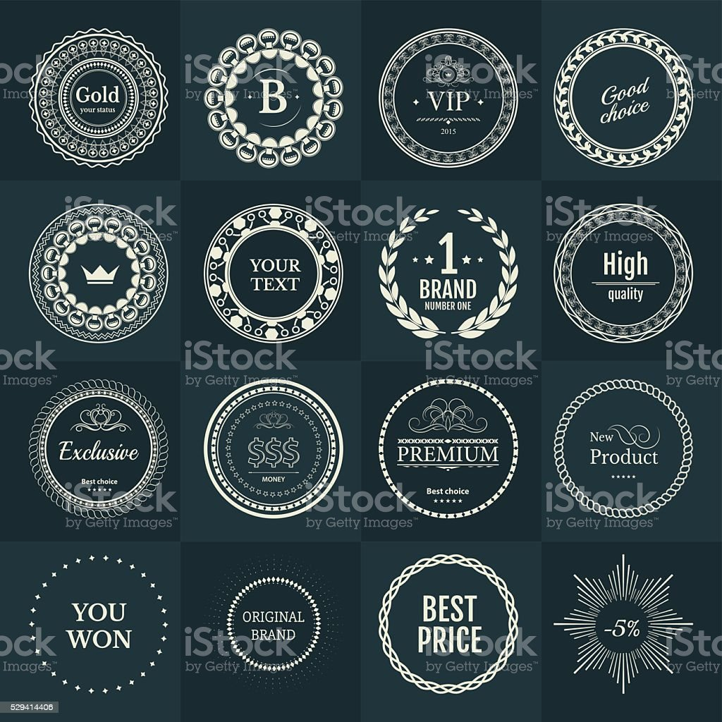 Collection labels for promo seals on green blue background vector art illustration