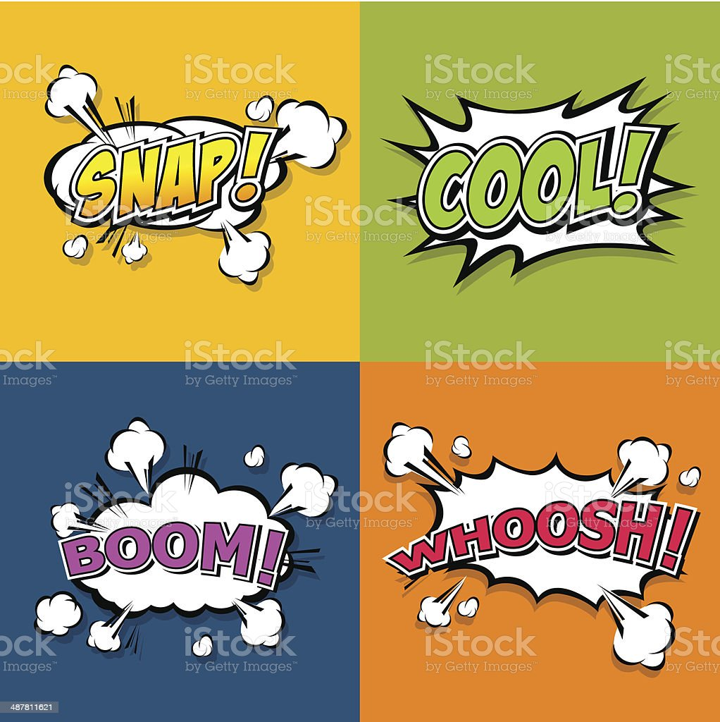 Collection multicolored comic sound Effects vector art illustration