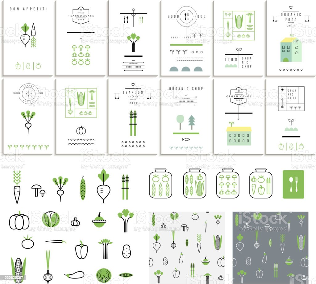 Collection of 12 eco cards. Vegetables. Icons. Two seamless patterns vector art illustration