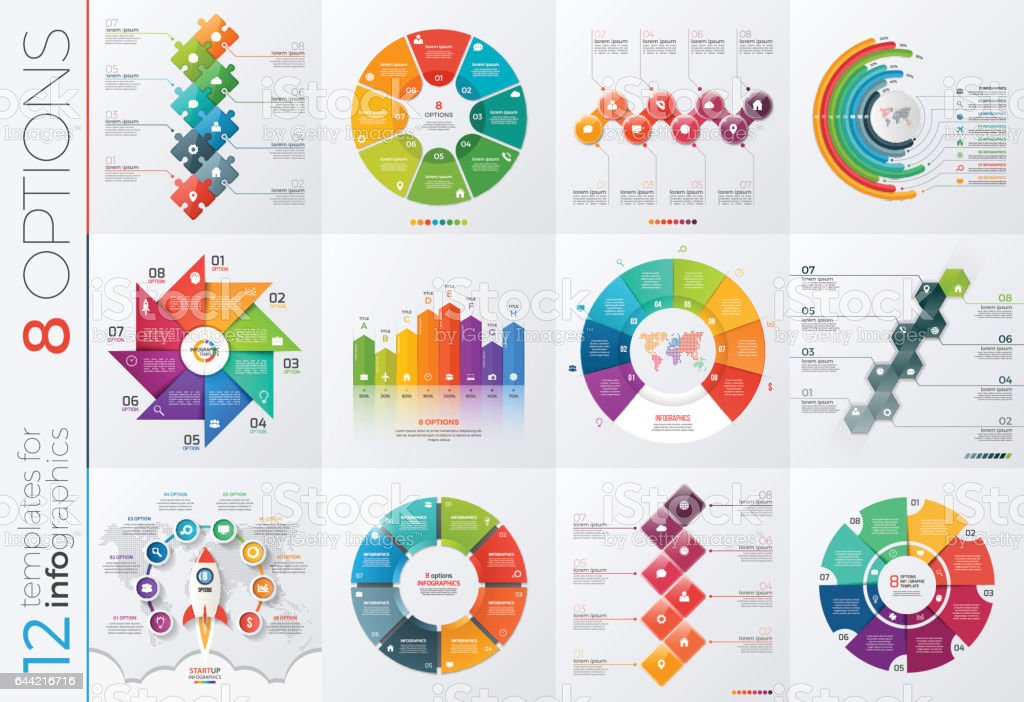Collection of 12 vector templates for infographics with 8 options for presentations, advertising, layouts, annual reports vector art illustration