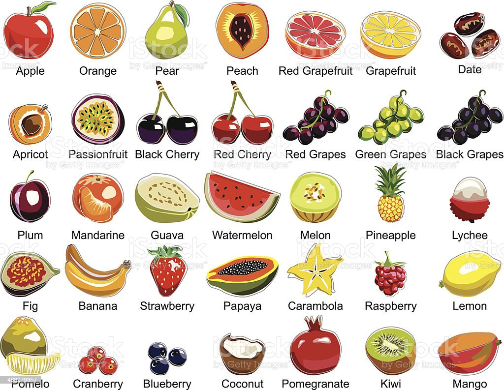 Collection of 35 Fruits icons vector art illustration