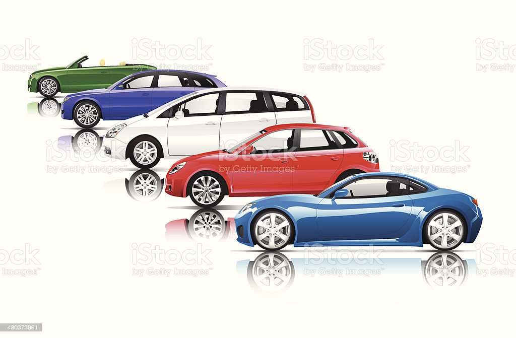 Collection of 3D Cars Vector royalty-free stock vector art